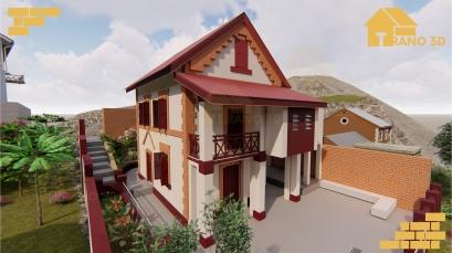 Maison semi-traditionnelle Malagasy