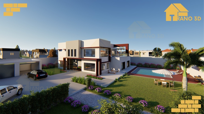 3D contemporary house Madagascar. Maquette 3D Madagascar. Construction maison madagascar. maison moderne madagascar. Contemporary house in Madagascar.